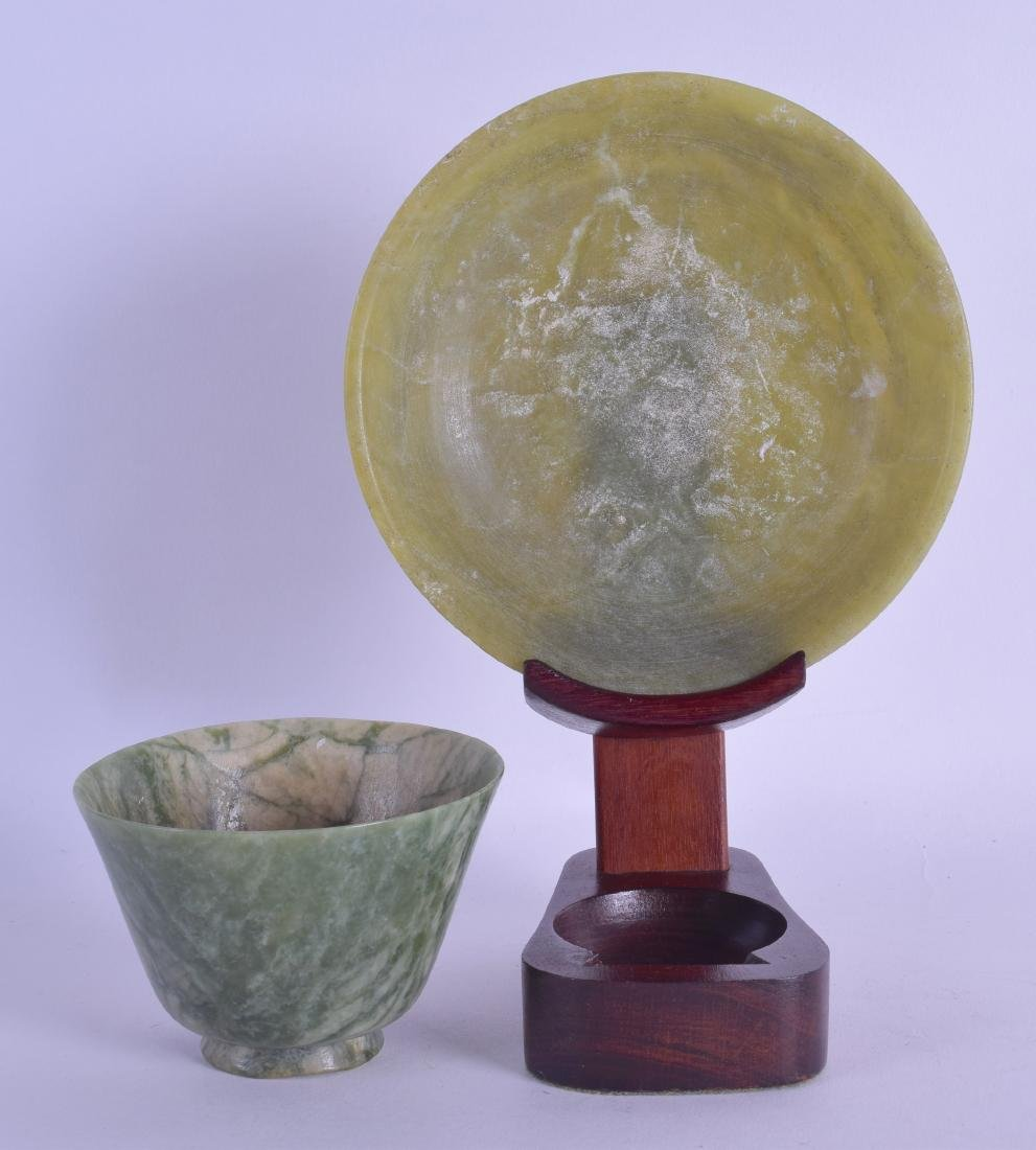 AN EARLY 20TH CENTURY CHINESE CARVED SOAPSTONE TEABOWL