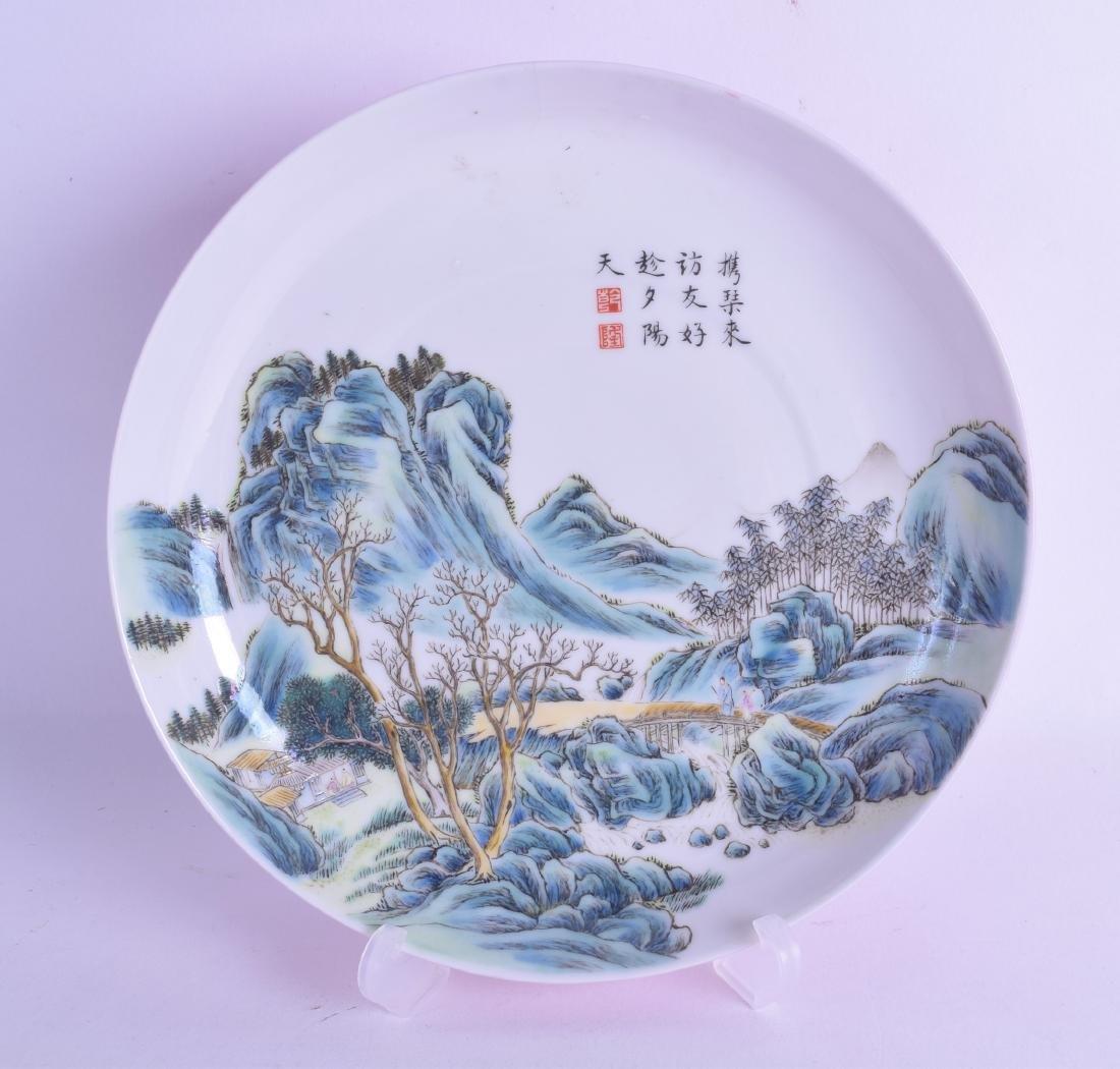 A FINE CHINESE REPUBLICAN PERIOD FAMILLE ROSE LANDSCAPE