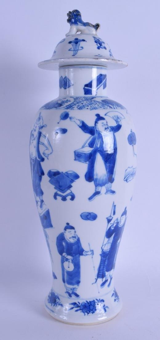 A 19TH CENTURY CHINESE BLUE AND WHITE BALUSTER VASE AND