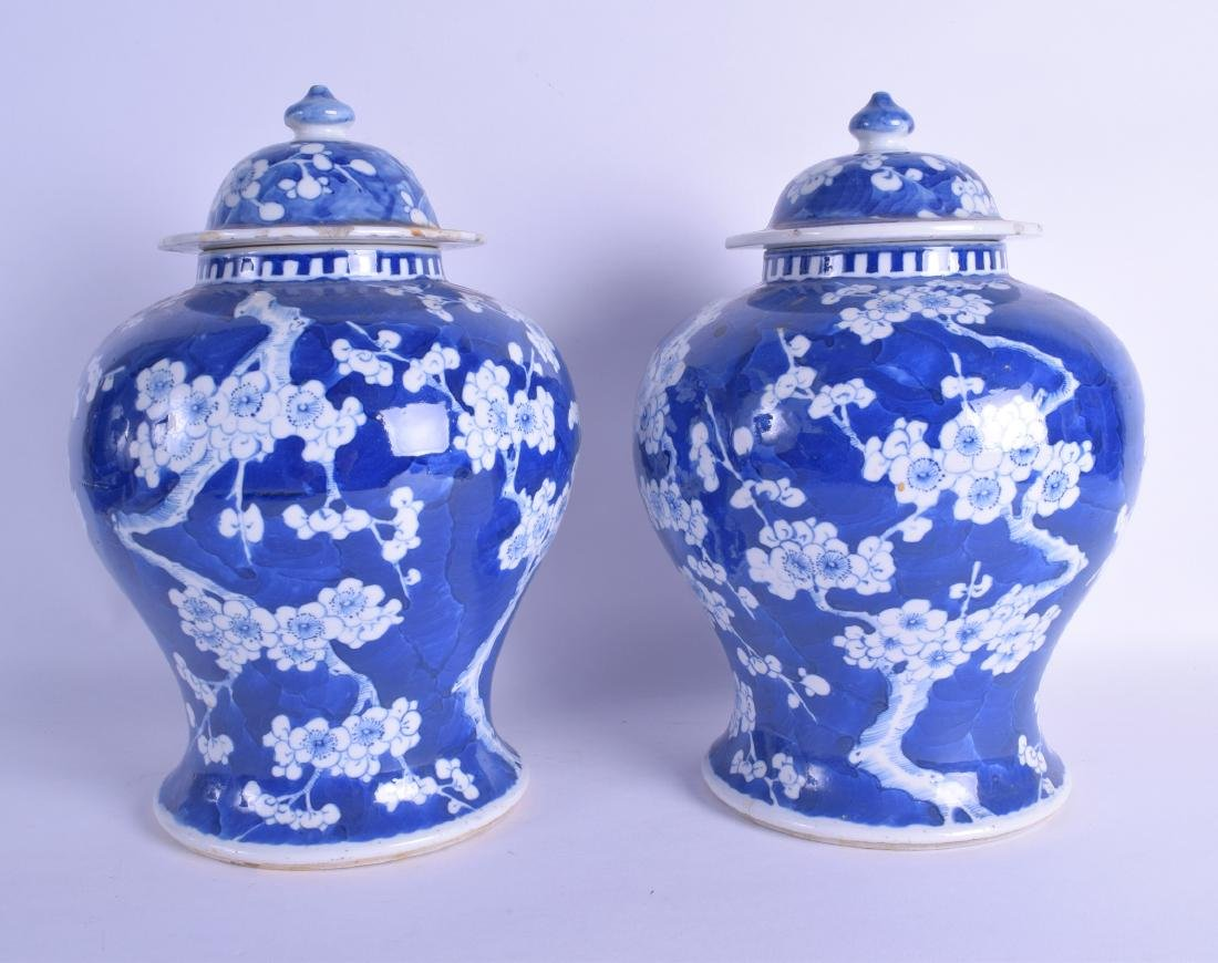 A PAIR OF 19TH CENTURY CHINESE BLUE AND WHITE BALUSTER