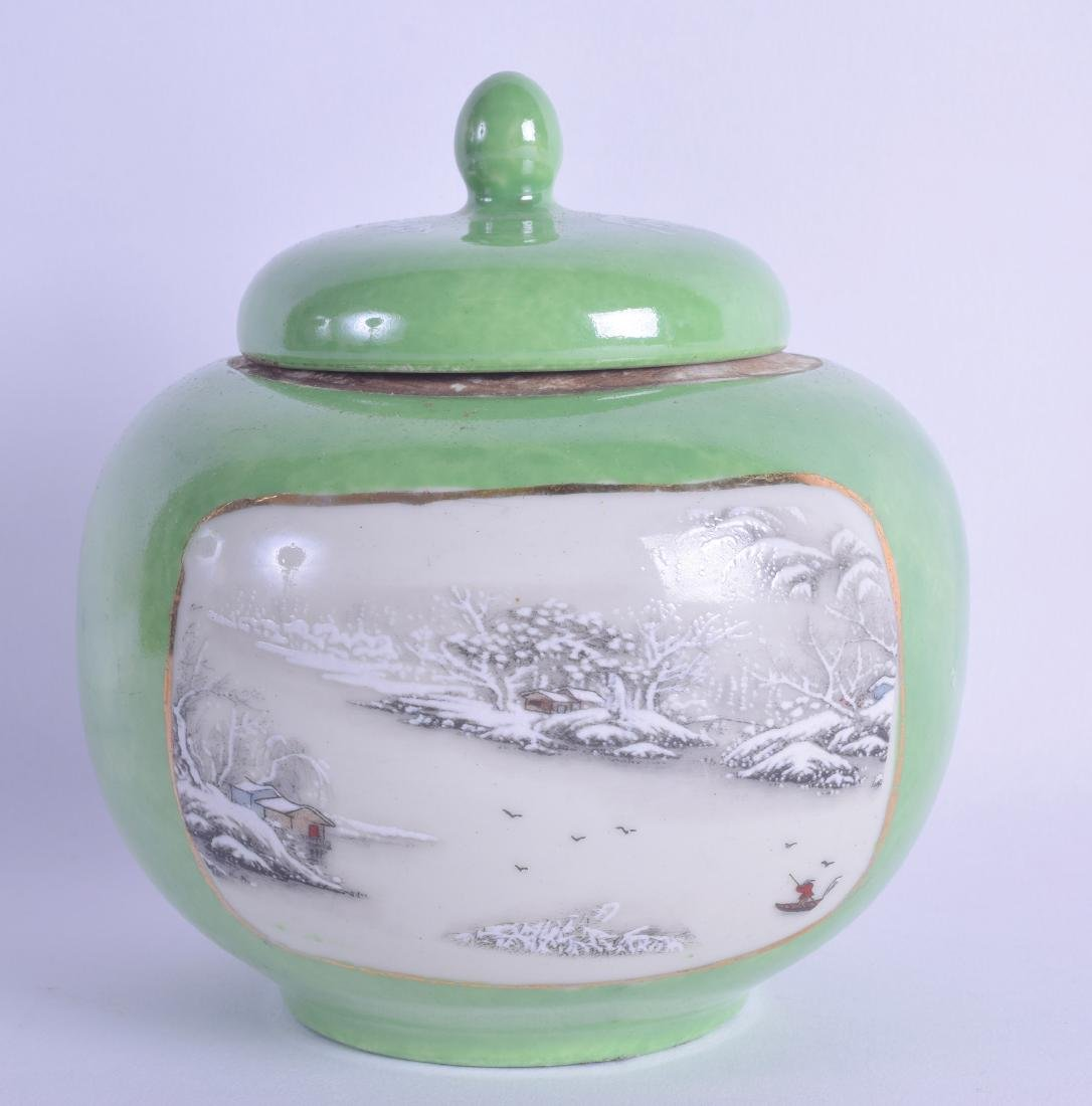 A CHINESE REPUBLICAN PERIOD GREEN GROUND GINGER JAR AND
