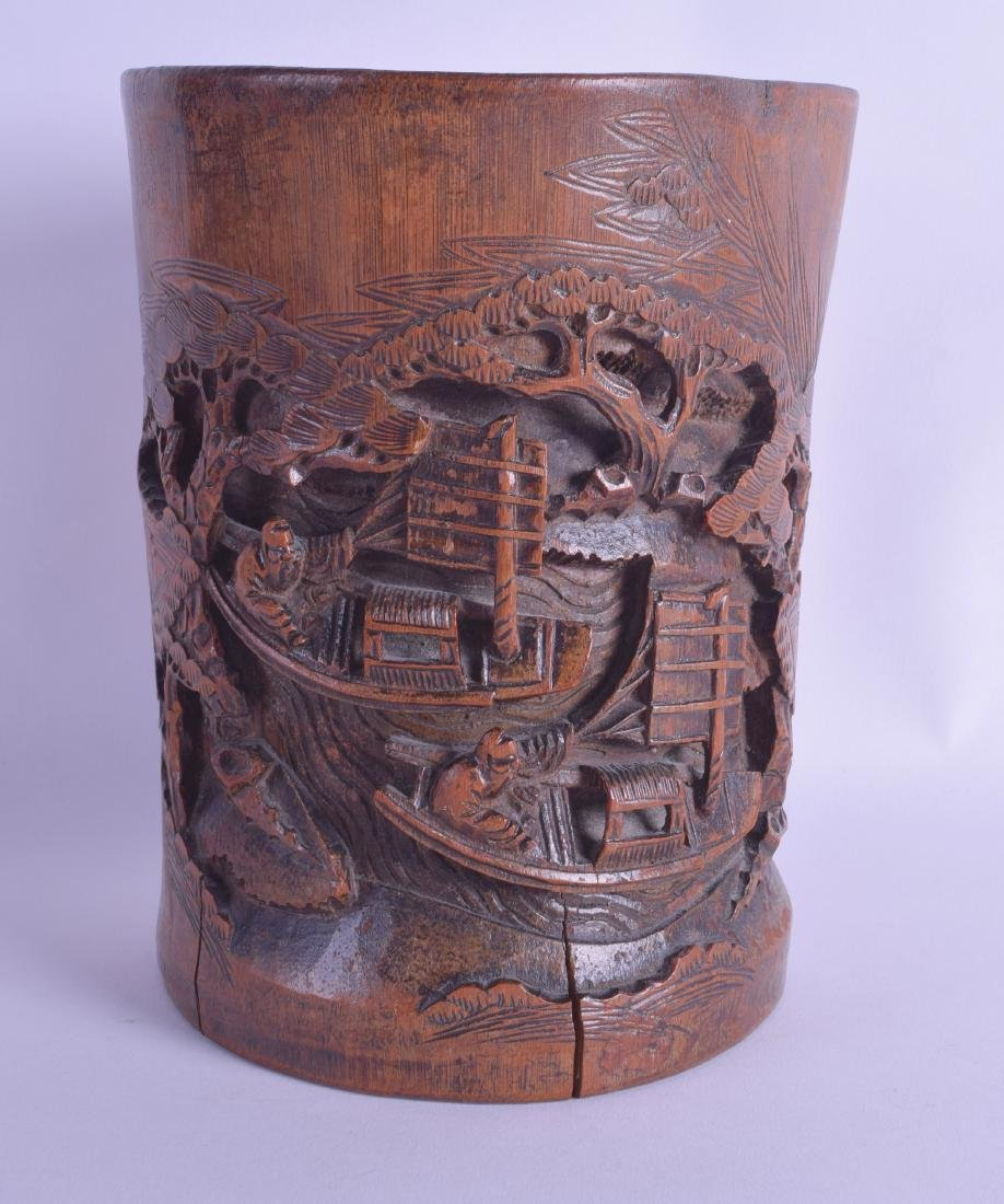A LATE 19TH CENTURY CHINESE CARVED BAMBOO BRUSH POT