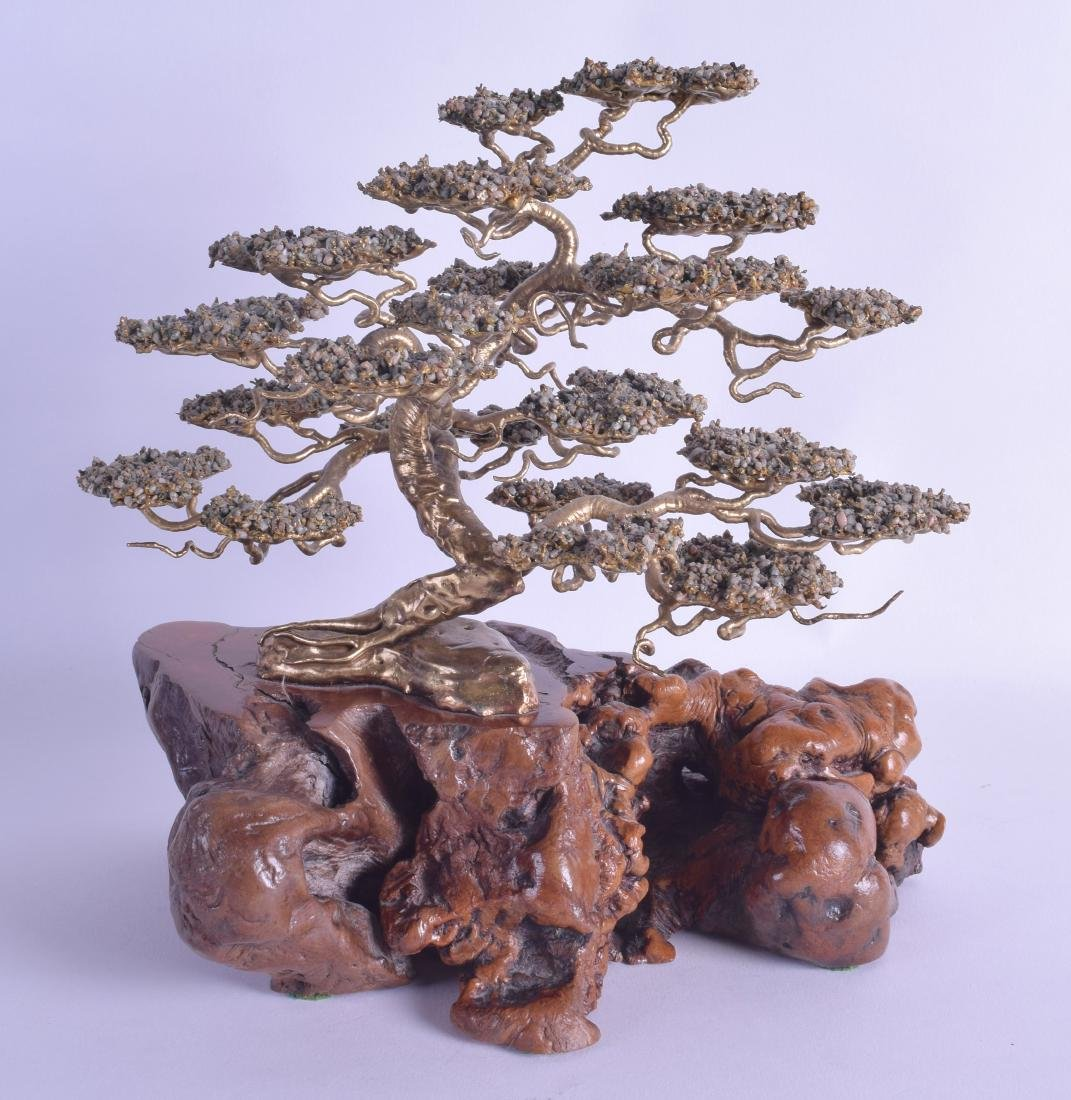 A RARE 19TH CENTURY CHINESE YELLOW METAL SCHOLARS TREE