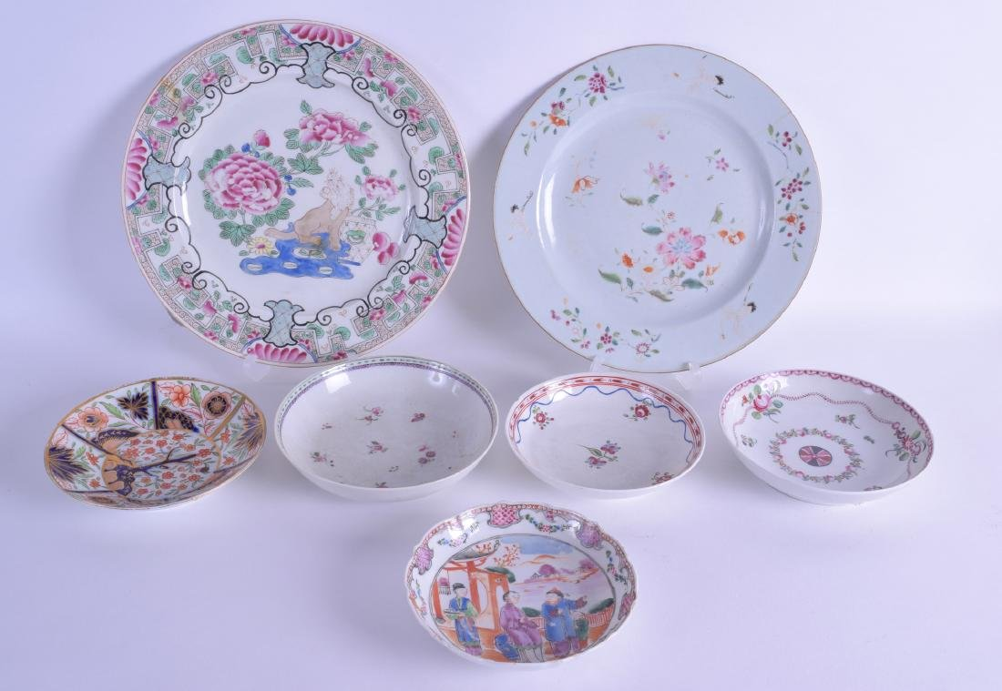 A GROUP OF 18TH CENTURY CHINESE EXPORT SAUCERS together