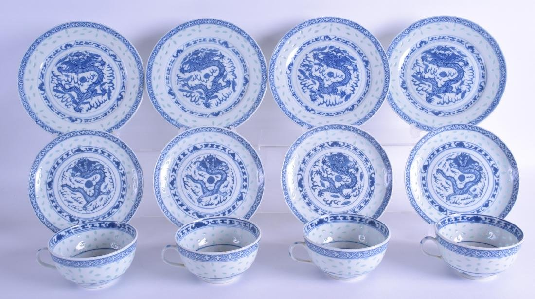 A SET OF FOUR EARLY 20TH CENTURY CHINESE BLUE AND WHITE
