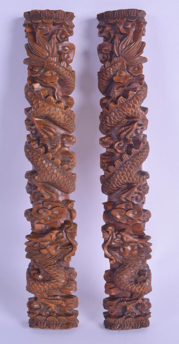 A GOOD PAIR OF CHINESE CARVED BOXWOOD SCROLL WEIGHTS