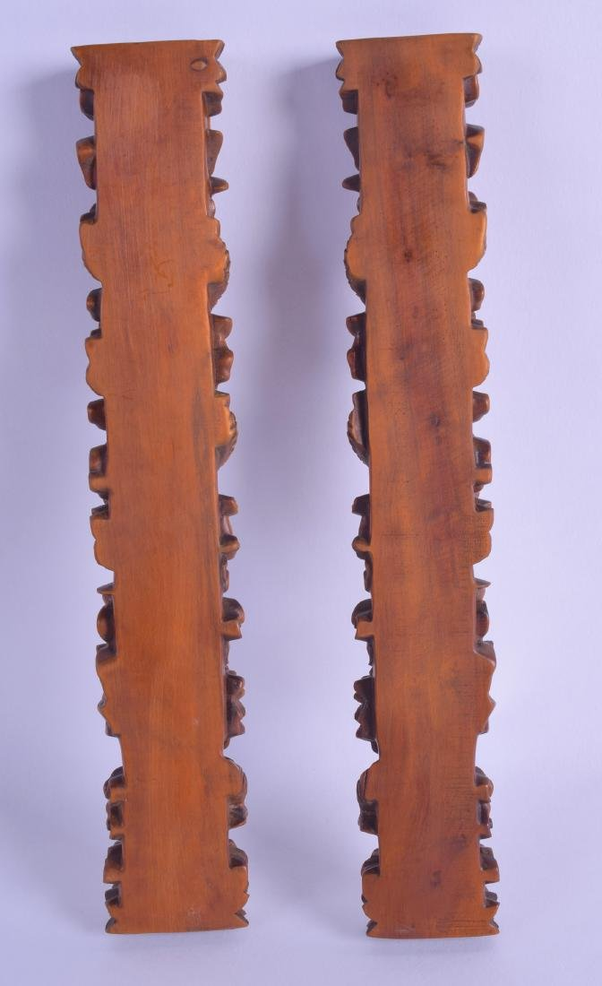 A GOOD PAIR OF CHINESE CARVED BOXWOOD SCROLL WEIGHTS - 2