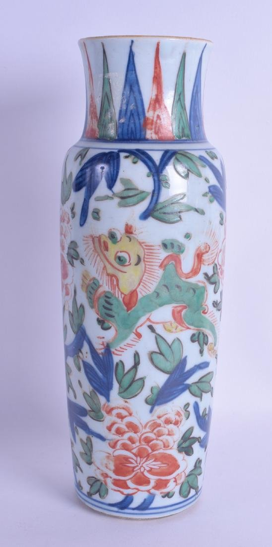 A 17TH CENTURY CHINESE WUCAI PORCELAIN SLEEVE VASE Late - 2