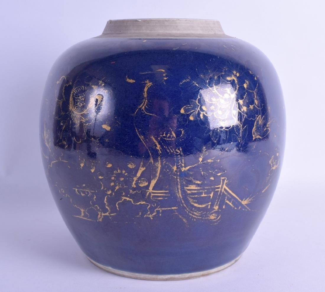 AN 18TH CENTURY CHINESE POWDER BLUE GROUND GINGER JAR
