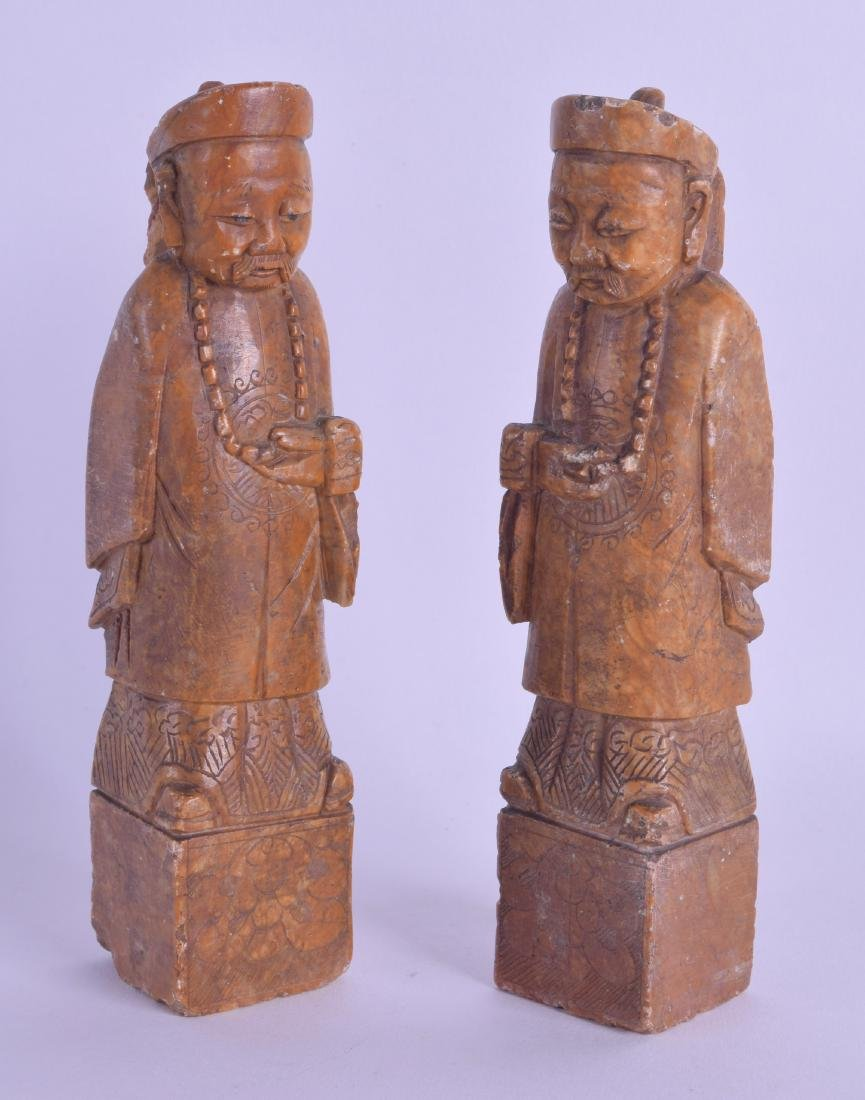 A PAIR OF LATE 19TH CENTURY CHINESE CARVED SOAPSTONE