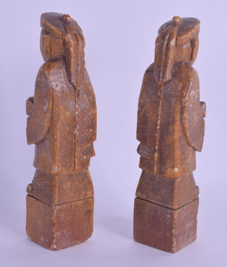 A PAIR OF LATE 19TH CENTURY CHINESE CARVED SOAPSTONE - 2