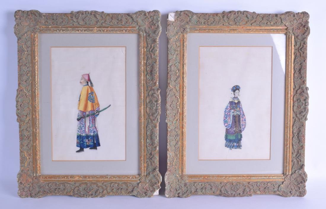 A LARGE PAIR OF 19TH CENTURY CHINESE FRAMED PITH PAPER