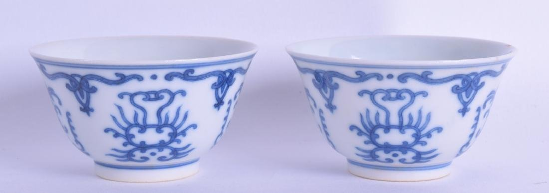 A PAIR OF CHINESE BLUE AND WHITE TEABOWLS 20th Century,
