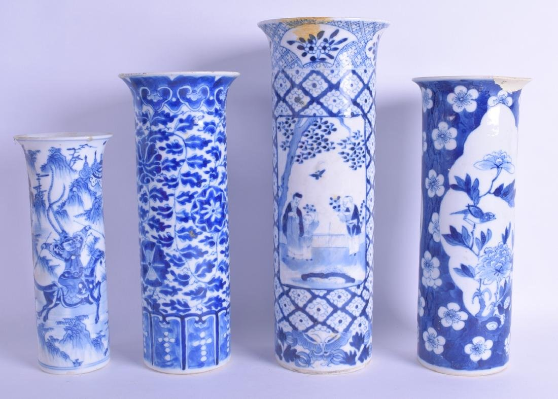 A GROUP OF FOUR 19TH CENTURY CHINESE BLUE AND WHITE