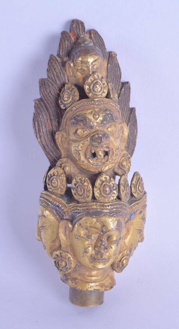 AN 18TH/19TH CENTURY SINO TIBETAN GILT BRONZE FINIAL