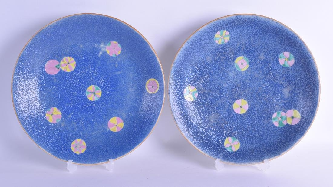 A PAIR OF CHINESE QING DYNASTY SCRAFITO PORCELAIN