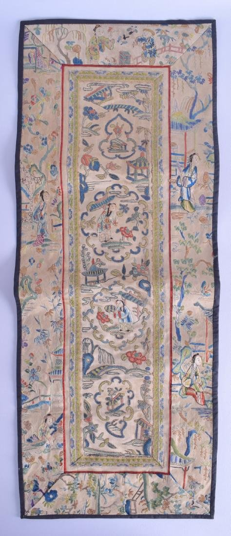 A LATE 19TH CENTURY CHINESE SILK WORK PANEL depicting