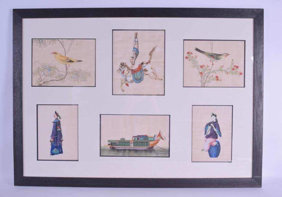 A FRAMED SET OF SIX 19TH CENTURY CHINESE PITH PAPER