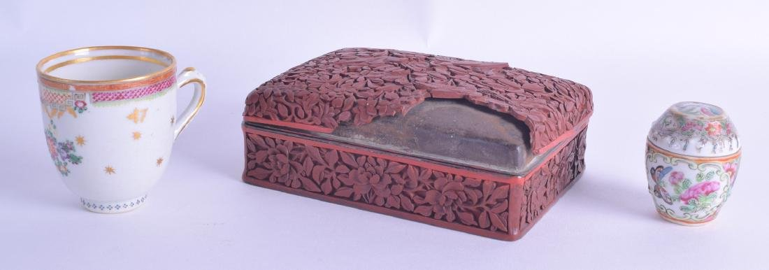 A 19TH CENTURY CHINESE CARVED CINNABAR BOX AND COVER