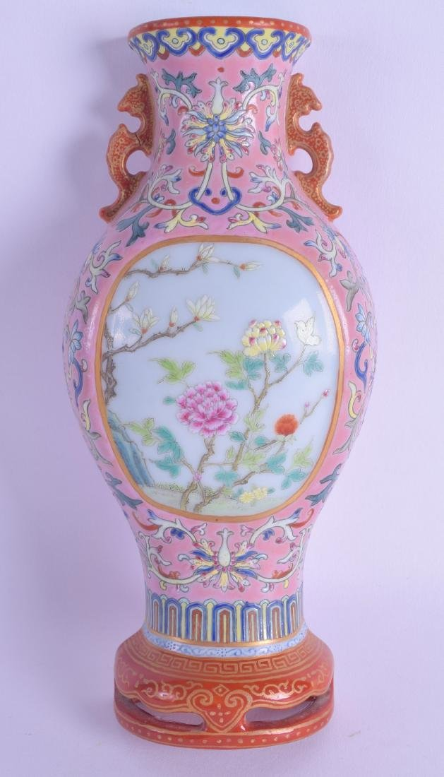 A GOOD CHINESE TWIN HANDLED FAMILLE ROSE WALL POCKET