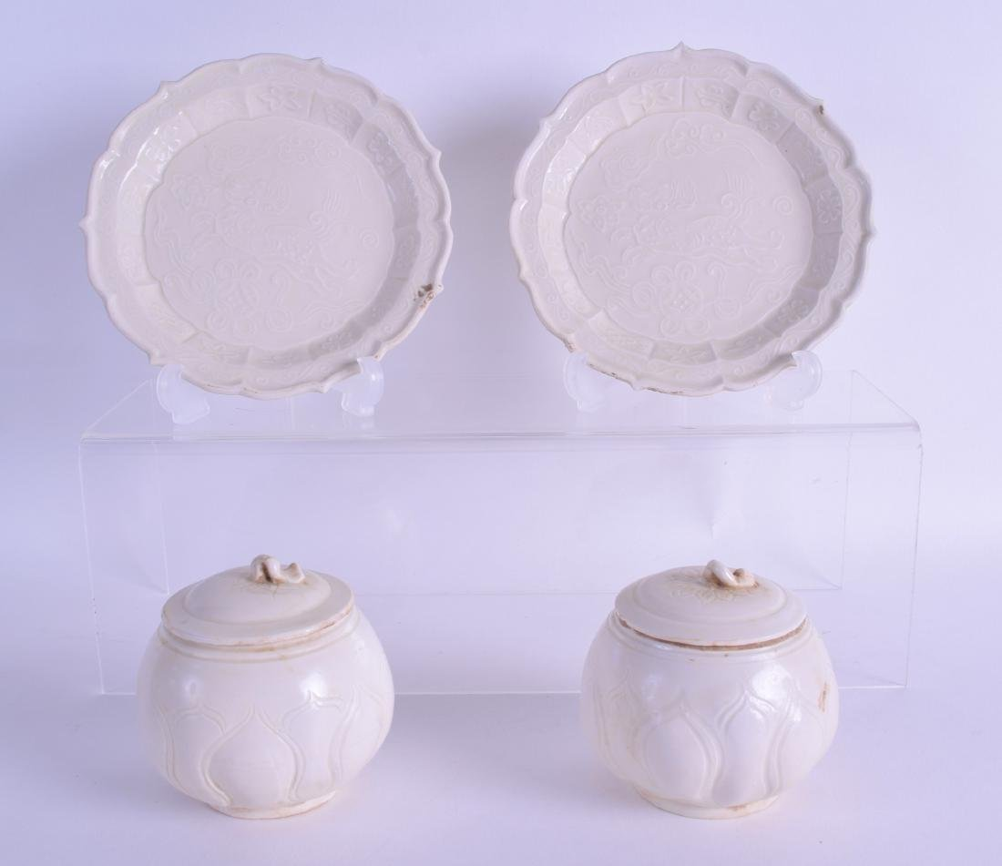 A PAIR OF CHINESE SUNG STYLE BOWLS AND COVERS with