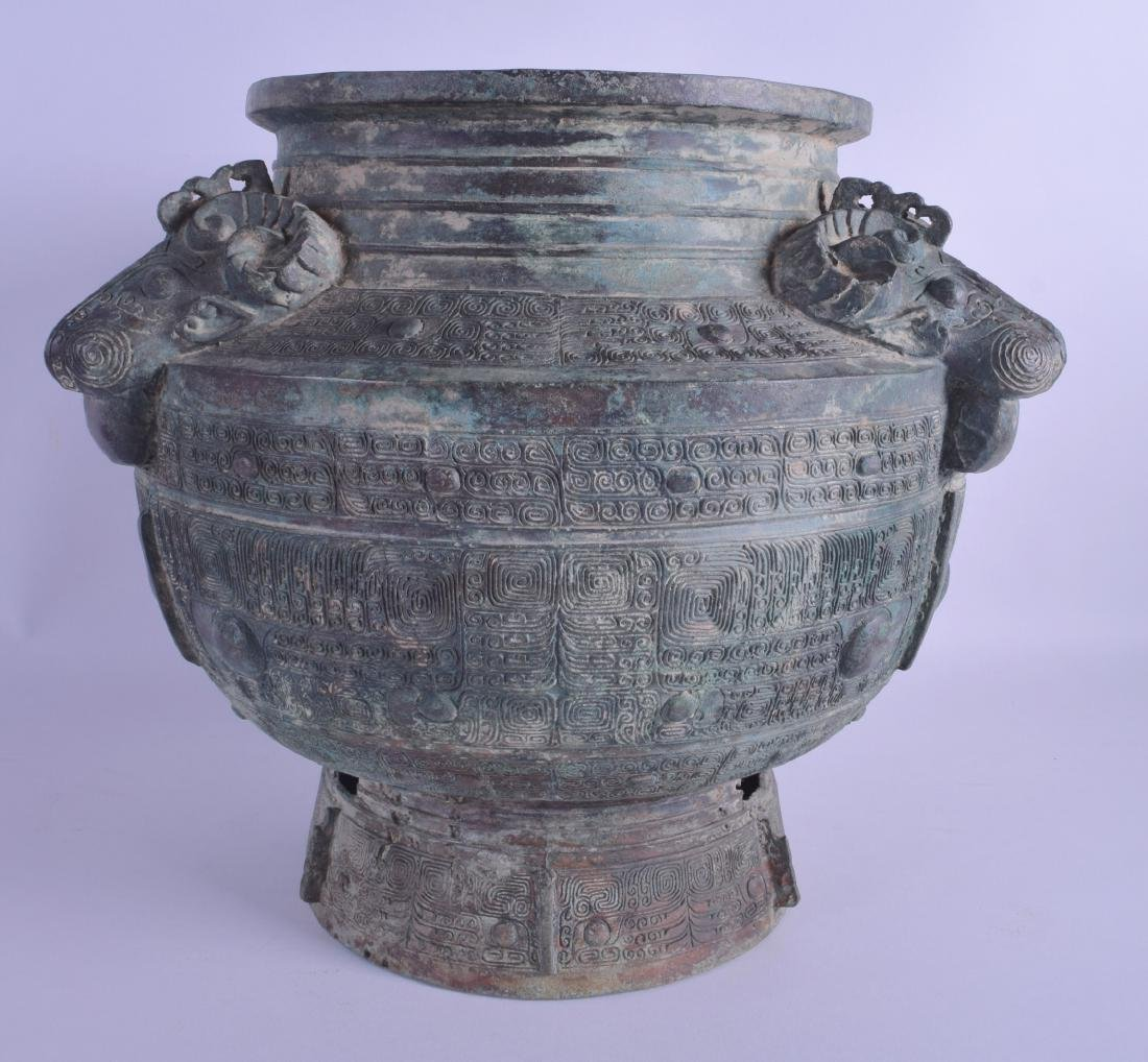 A LARGE CHINESE BRONZE JARDINIERE probably Qing,