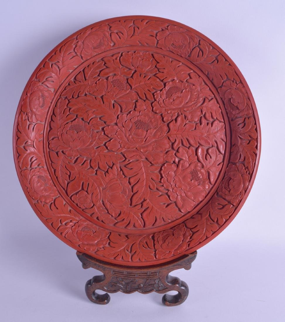 A GOOD CHINESE QING DYNASTY CARVED CINNABAR LACQUER