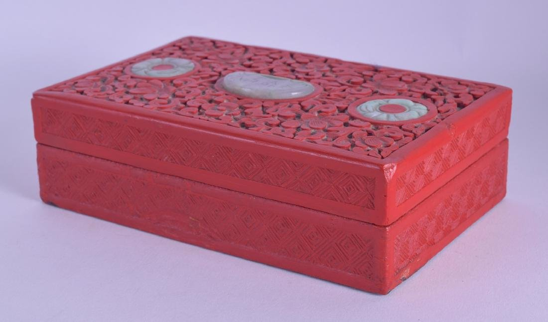 AN EARLY 20TH CENTURY CHINESE CARVED RED LACQUER BOX