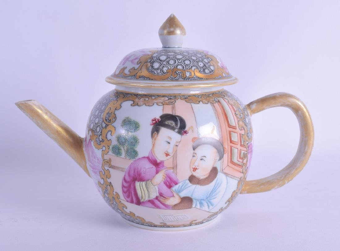 AN UNUSUAL CHINESE EXPORT FAMILLE ROSE TEAPOT AND COVER