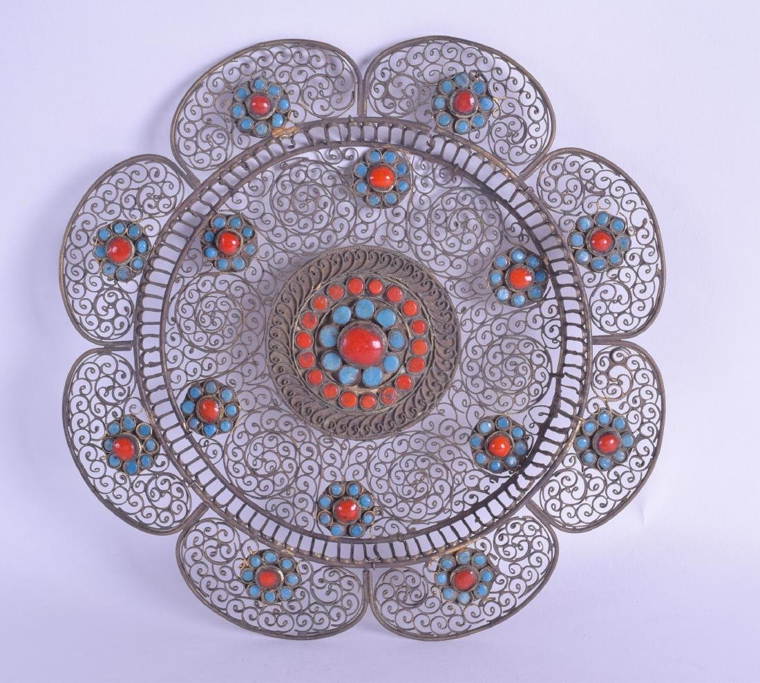 A 19TH CENTURY TIBETAN OPEN WORK WHITE METAL METAL
