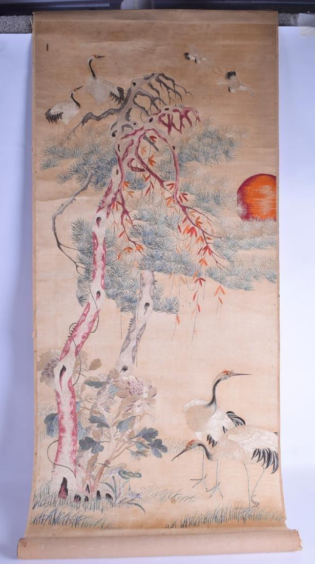 A RARE LATE 19TH/20TH CENTURY CHINESE SILK WORK SCROLL
