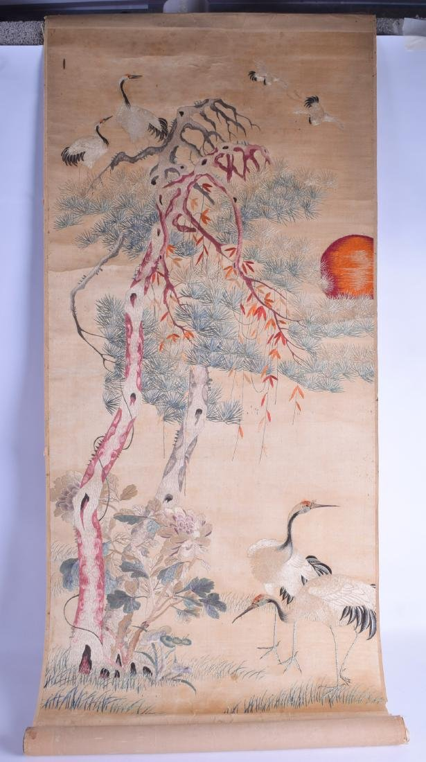 A RARE LATE 19TH/20TH CENTURY CHINESE SILK WORK SCROLL