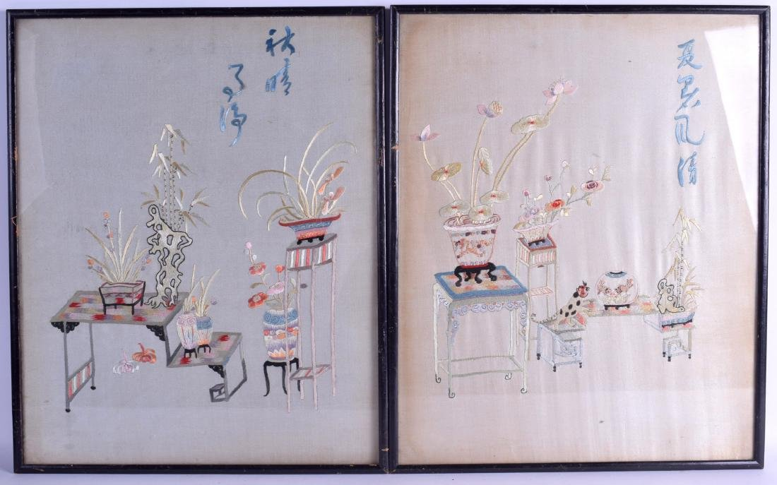 A PAIR OF FRAMED 19TH CENTURY CHINESE SILKWORK