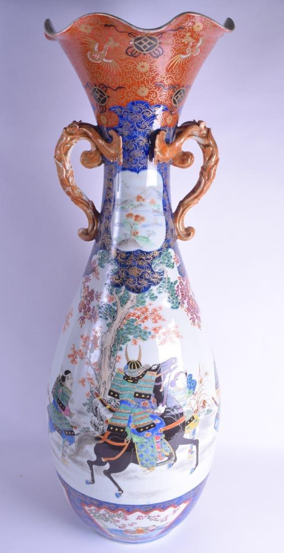 A HUGE 19TH CENTURY JAPAENSE MEIJI PERIOD TWIN HANDLED
