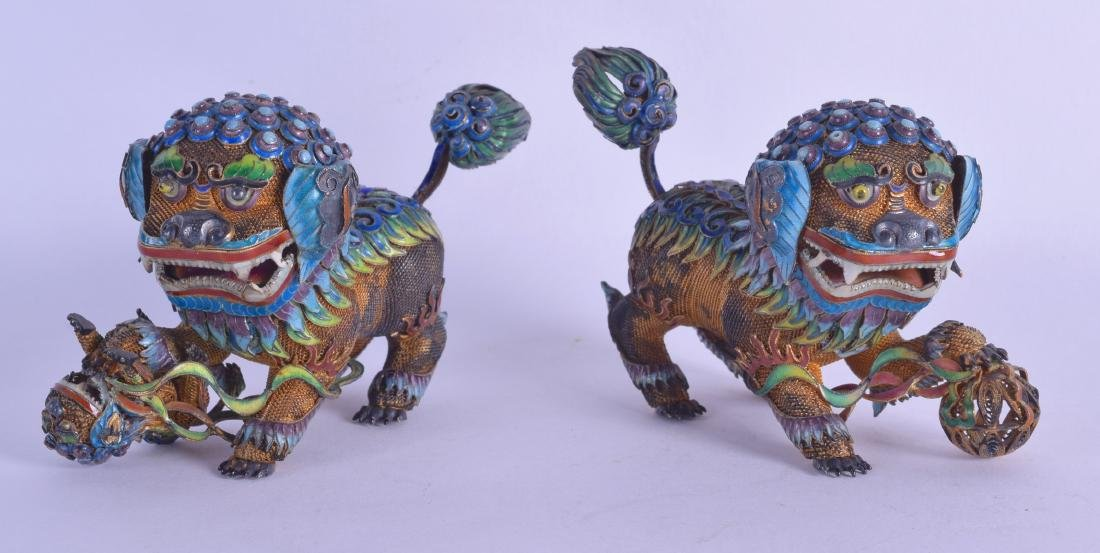 A FINE PAIR OF 19TH CENTURY CHINESE SILVER AND ENAMEL