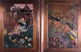 AN UNUSUAL LARGE SET OF FOUR ART DECO ENAMELLED COPPER