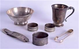 A GROUP OF ASSORTED SILVER AND SILVER PLATE including a