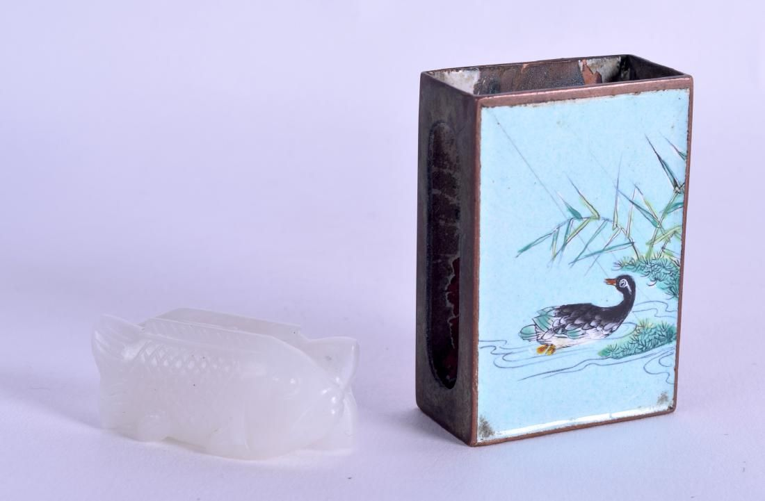 AN UNUSUAL CHINESE CANTON ENAMEL MATCHBOX HOLDER