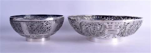 A LARGE 19TH CENTURY CHINESE EXPORT SILVER OPEN WORK