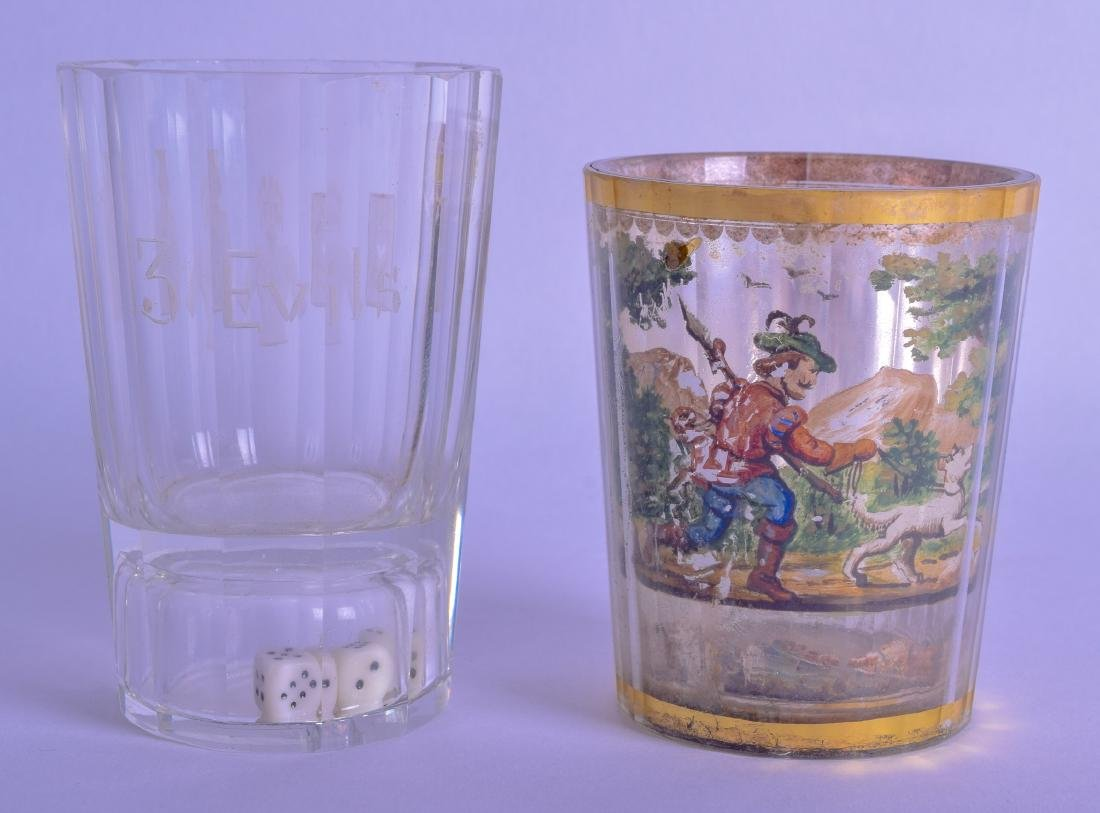 AN 18TH CENTURY GERMAN REVERSE PAINTED GLASS GOBLET