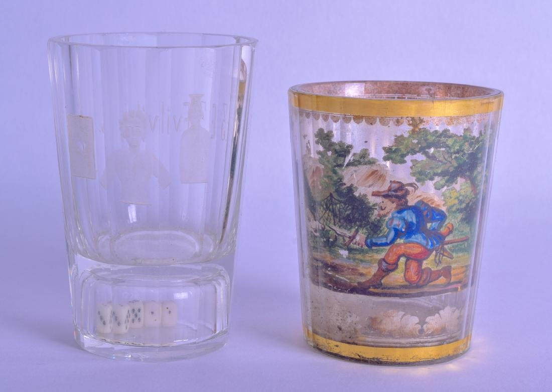 AN 18TH CENTURY GERMAN REVERSE PAINTED GLASS GOBLET - 2