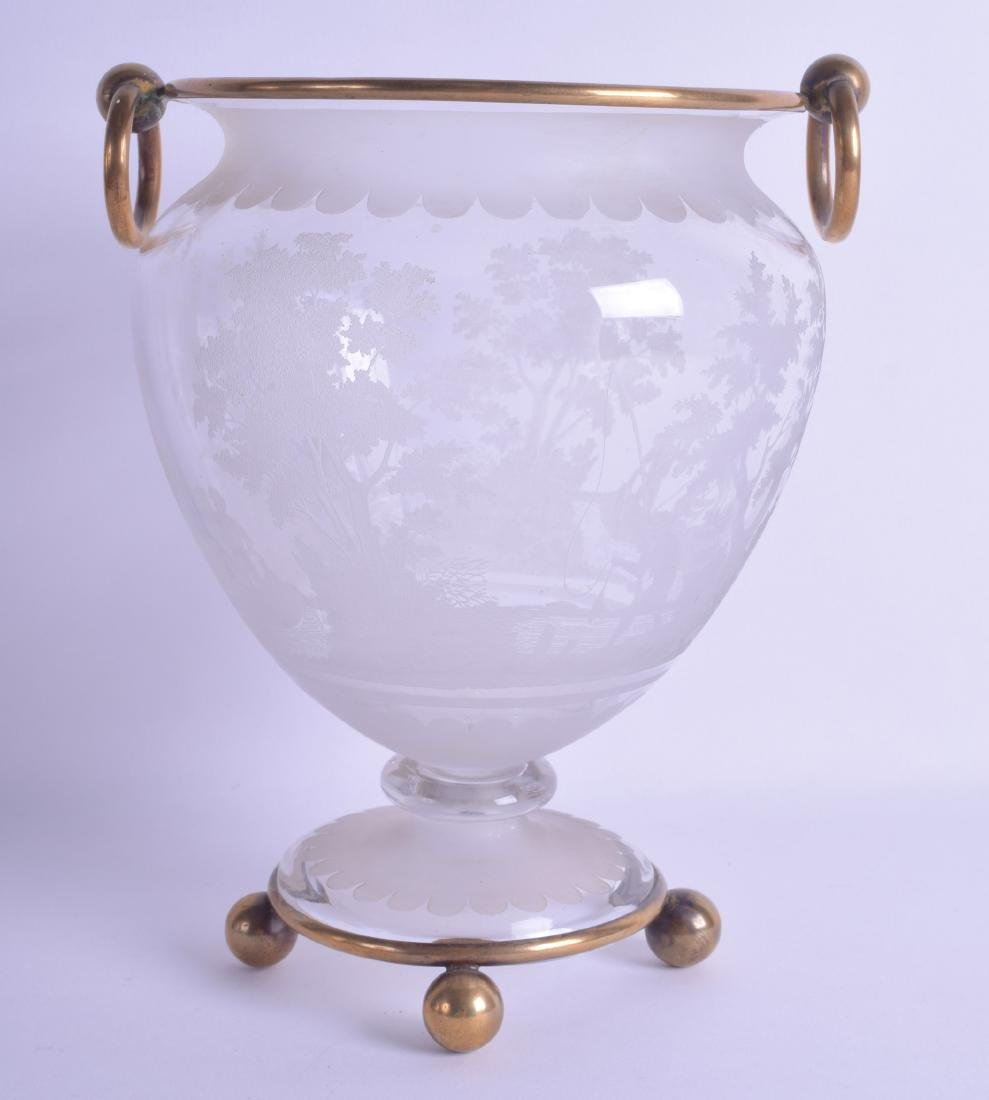 A LATE VICTORIAN ENGRAVED GLASS VASE decorated with