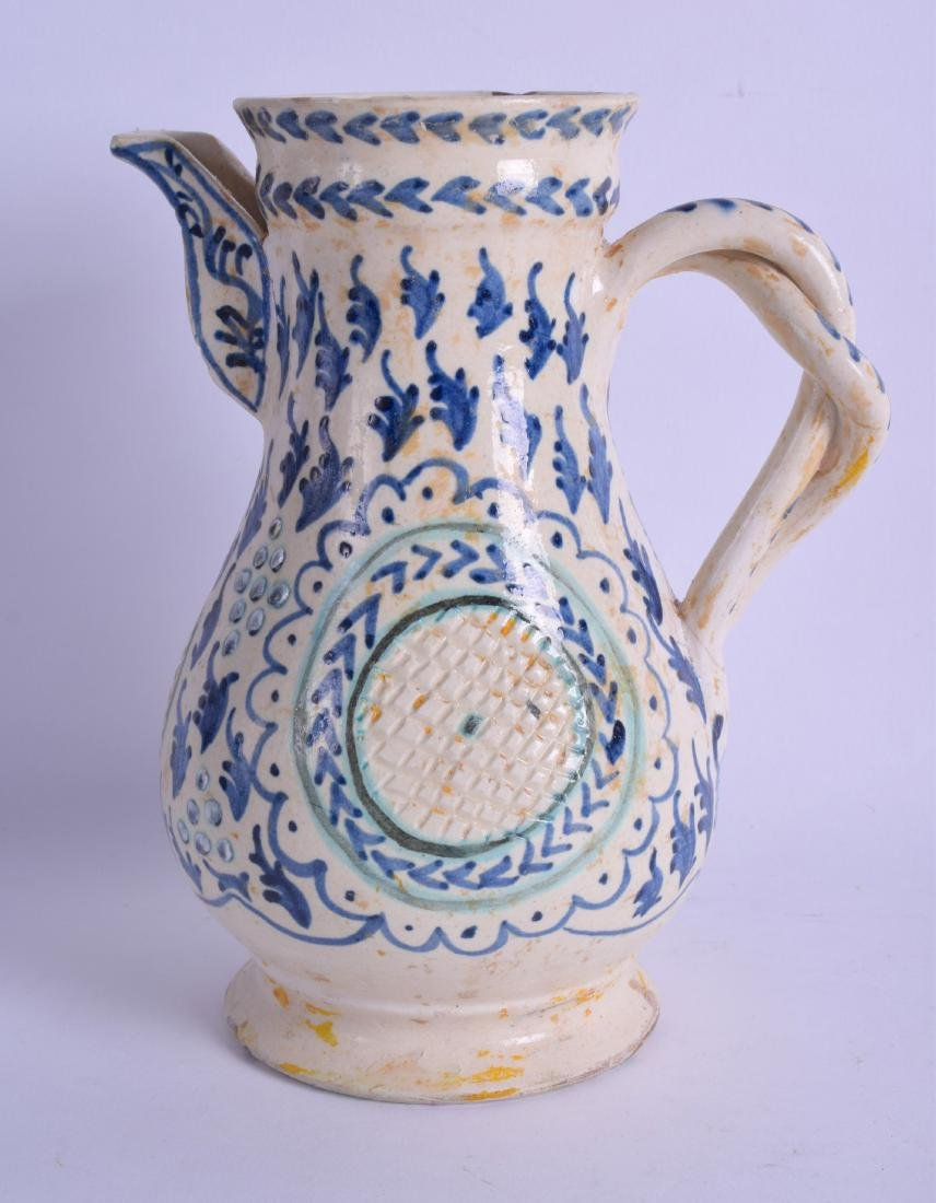 AN UNUSUAL MIDDLE EASTERN POTTERY FAIENCE JUG possibly - 2