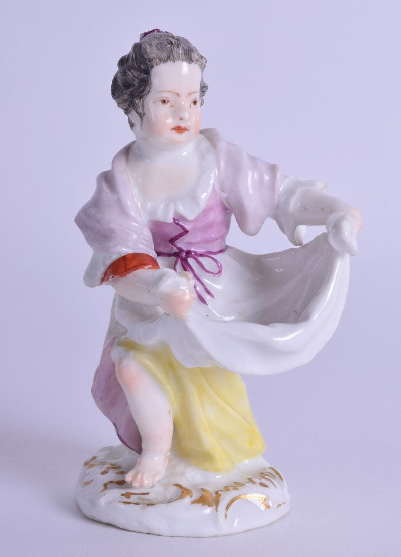 Mid 18th c. Meissen figure of a girl holding out her