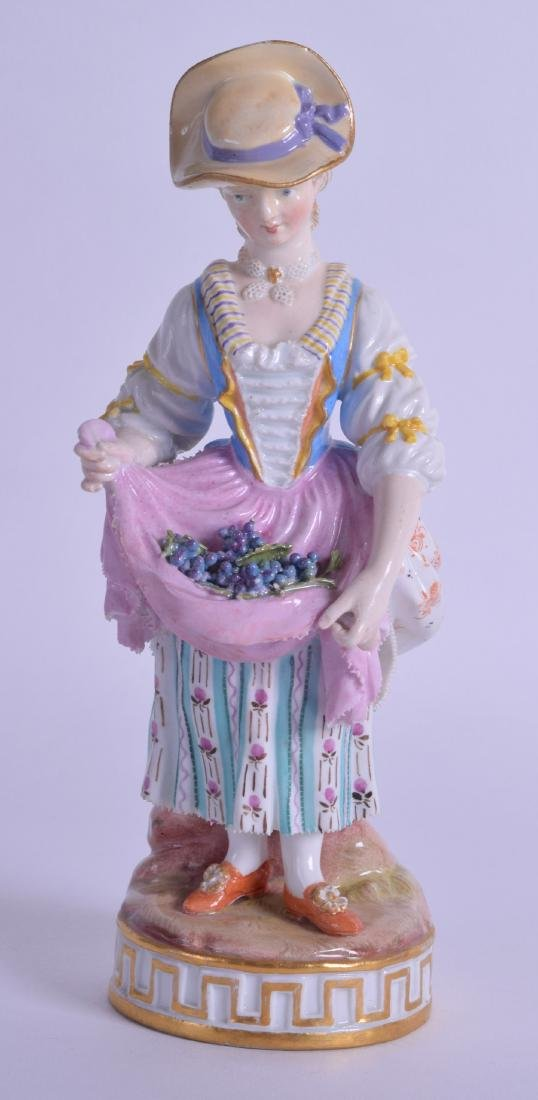 19th c. Meissen figure of a girl holding an apron of