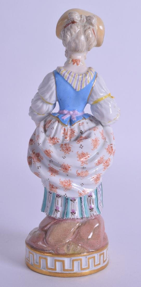 19th c. Meissen figure of a girl holding an apron of - 2