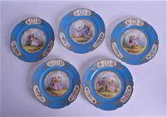 A SET OF FIVE LATE 19TH CENTURY FRENCH SEVRES PORCELAIN