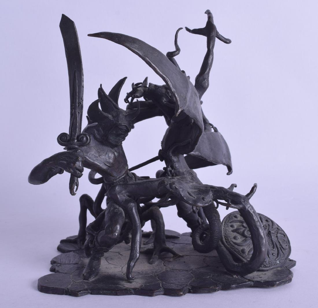 AN UNUSUAL 1970S BRONZE FIGURE OF A MYTHICAL DRAGON