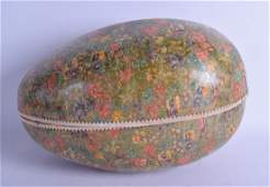 A VICTORIAN CARVED PAPIER MACHE LACQUERED EASTER EGG