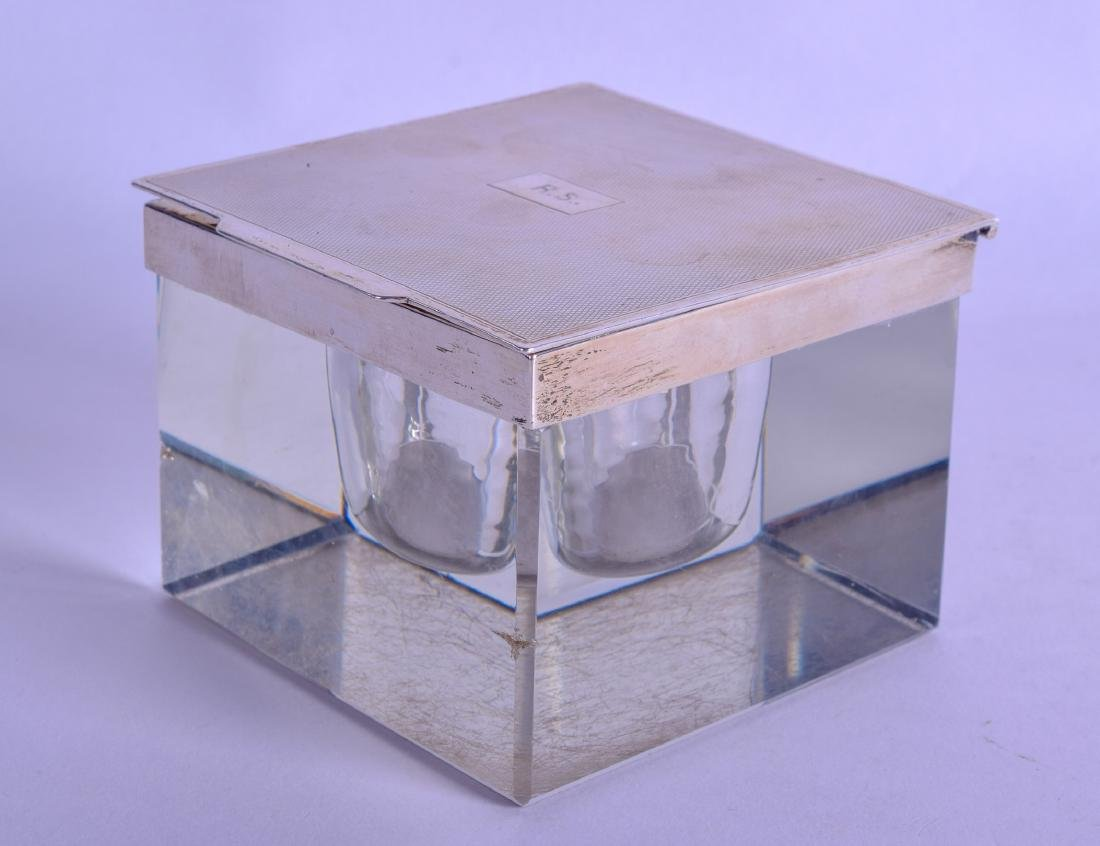 A LARGE SILVER ENGINE TURNED GLASS INKWELL. Birmingham